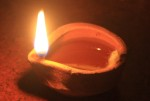 Oil lamp with a flame